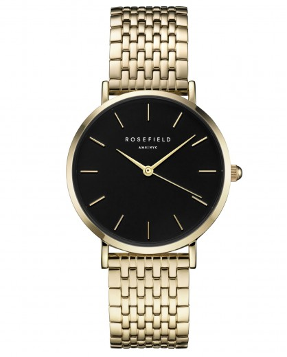 Reloj Rosefield Upper east side negro y oro
